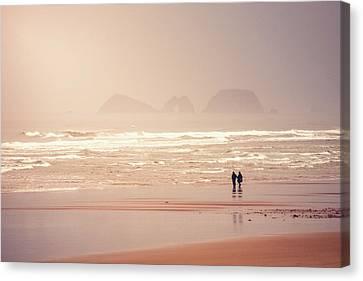 Beach Walkers Canvas Print by Debi Bishop