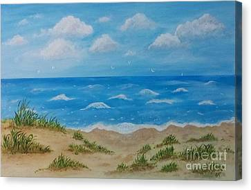 Canvas Print featuring the painting Beach Waves by Sonya Nancy Capling-Bacle
