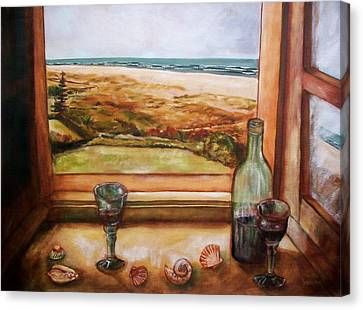 Canvas Print featuring the painting Beach Window by Winsome Gunning