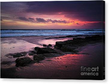 Beach Winter Sunset 1 Canvas Print