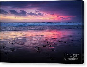 Beach Winter Sunset 2 Canvas Print