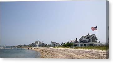 Beach With Buildings In The Background Canvas Print by Panoramic Images