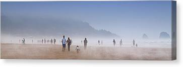 Foggy Day Digital Art Canvas Print - Beachcombers On Cannon Beach by David Patterson