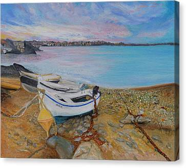 Beached Boats Canvas Print by Kathy Knopp
