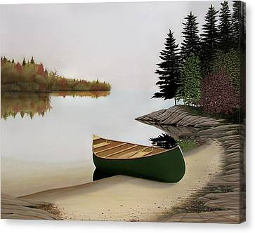Beached Canoe In Muskoka Canvas Print by Kenneth M  Kirsch