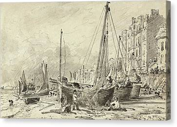 Beached Fishing Boats With Fishermen Mending Nets On The Beach At Brighton, Looking West Canvas Print