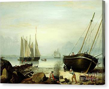Beached For Repairs, Duncan's Point, Gloucester, 1848 Canvas Print by Fitz Henry Lane