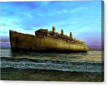 Beached Wreck Canvas Print by Tom Straub