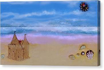Canvas Print featuring the mixed media Beaches Castle by Mary Ann  Leitch