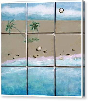 Canvas Print featuring the mixed media Beaches Cubed by Mary Ann  Leitch