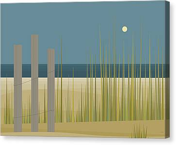 Beaches - Fence Canvas Print by Val Arie
