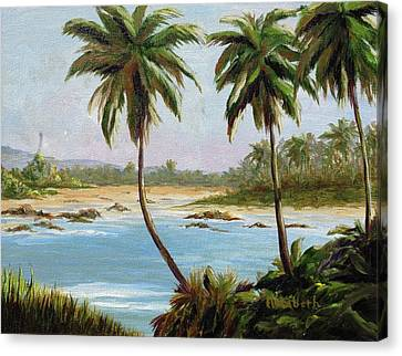 Beachfont Palms Canvas Print by Beth Maddox