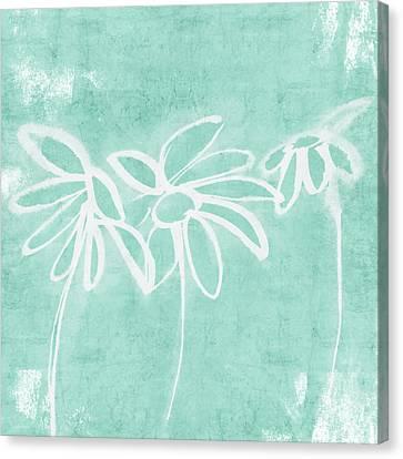 Beachglass And White Flowers 3- Art By Linda Woods Canvas Print