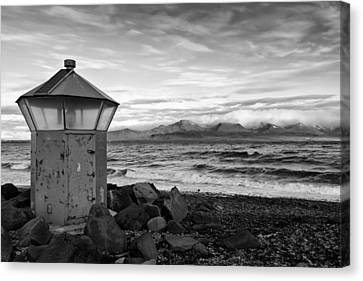 Beacon At Hvaleyrarviti In Iceland Bw Canvas Print by Andres Leon
