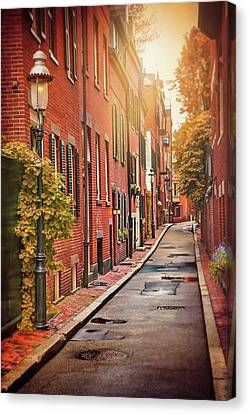 Brownstone Canvas Print - Beacon Hill Area Of Boston  by Carol Japp