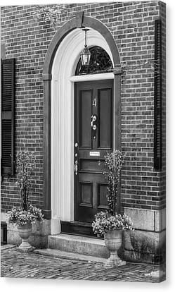 Beacon Hill Red Door Bw  Canvas Print by Susan Candelario