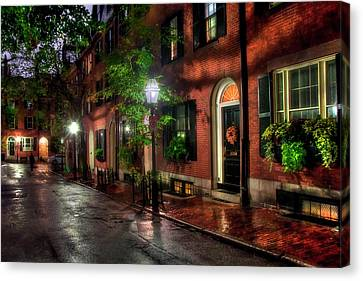 Beacon Hill Street Reflections - Boston Canvas Print by Joann Vitali