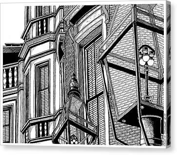 Beacon Hill Windows-boston Canvas Print by Conor Plunkett