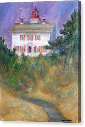 Beacon On The Hill - Lighthouse Painting Canvas Print by Quin Sweetman