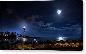 Sea Moon Full Moon Canvas Print - Beacons Of The Night by Mark Andrew Thomas