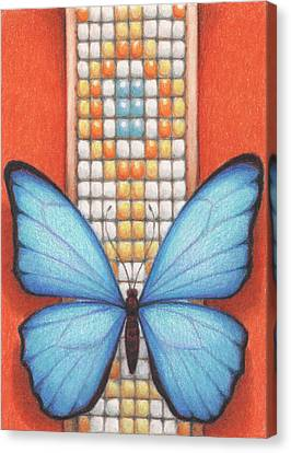 Beaded Morpho Canvas Print by Amy S Turner
