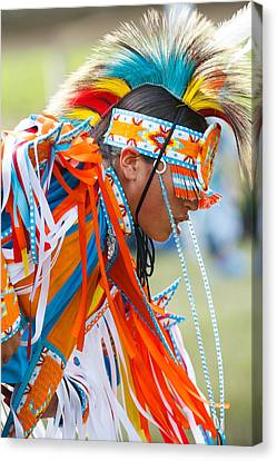 Native American Clothes Canvas Print - Beaded Pow Wow Dancer by Steven Bateson