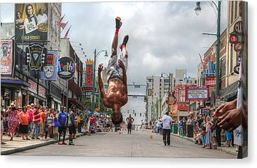 Beale Street Flippers In Downtown Memphis,tennessee Canvas Print