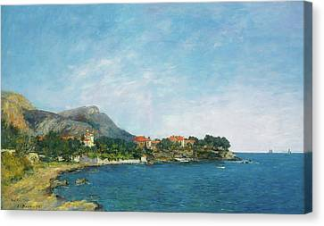 Canvas Print featuring the painting Bealieu - The Bay Of Fourmis by Eugene Boudin