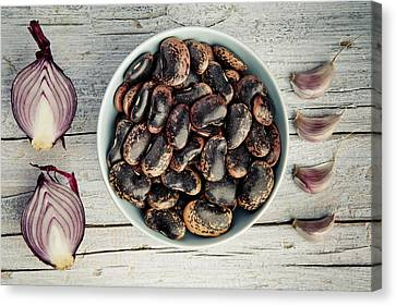 Beans, Garlic And Onion Canvas Print by Nailia Schwarz