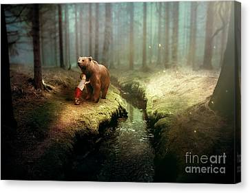 Bear And Boy Canvas Print