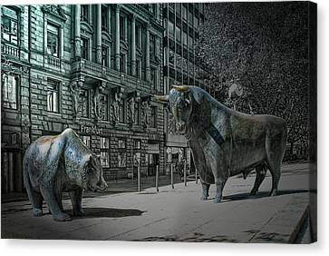 bear and bull Frankfurt Canvas Print