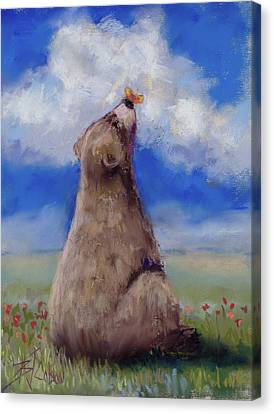 Bear And Butterfly Canvas Print by Billie Colson