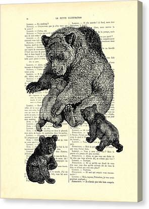 Bear And Cubs Black And White Antique Illustration Canvas Print by Madame Memento