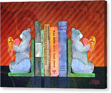 Bear Bookends Canvas Print