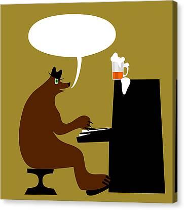 Bear By Piano  Canvas Print by Lenka Rottova