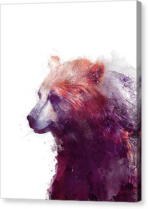 Fauna Canvas Print - Bear // Calm - Right // White Background by Amy Hamilton