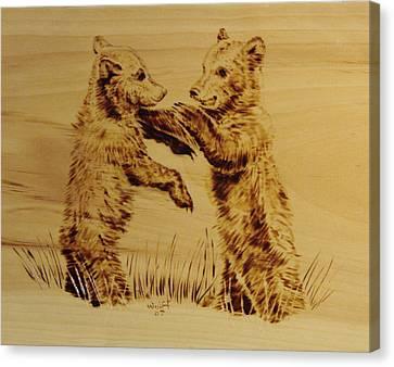 Bear Cubs Canvas Print by Chris Wulff