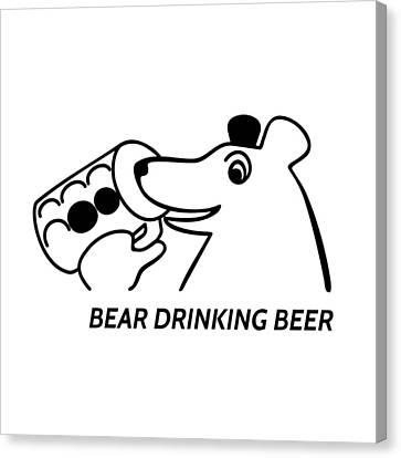 Stylized Beverage Canvas Print - Bear Drinking Beer by Lenka Rottova