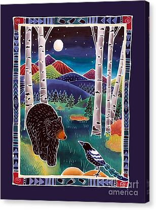 Bear Greets Magpie Canvas Print by Harriet Peck Taylor