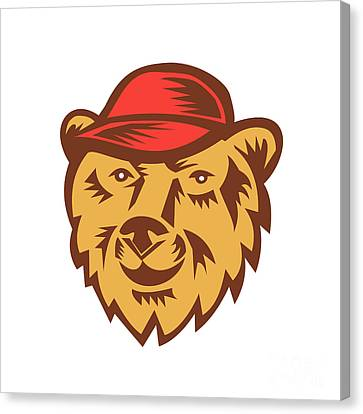Bear Head Wearing Hat Woodcut Canvas Print by Aloysius Patrimonio