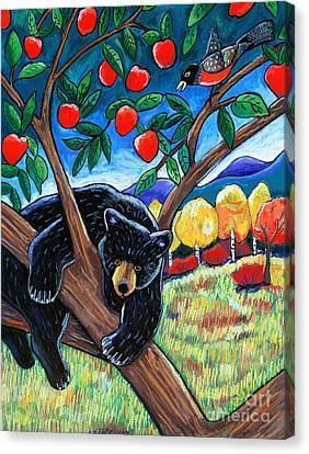 Bear In The Apple Tree Canvas Print by Harriet Peck Taylor