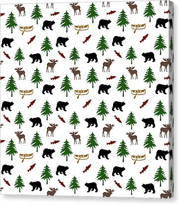 Bear Moose Pattern Canvas Print by Christina Rollo