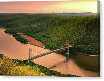 Canvas Print featuring the photograph Bear Mountain Bridge by Mihai Andritoiu