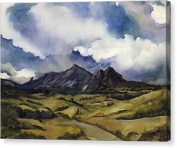 Canvas Print featuring the painting Bear Mountain Colorado by Alfred Ng