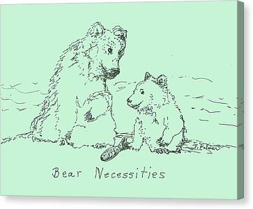 Canvas Print featuring the drawing Bear Necessities by Denise Fulmer