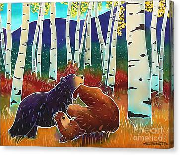 Bear Play Canvas Print by Harriet Peck Taylor