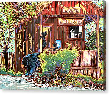 Bear Post Canvas Print by Nadi Spencer