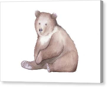 Canvas Print featuring the painting Bear Watercolor by Taylan Apukovska
