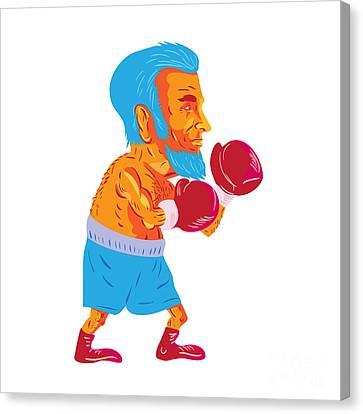 Bearded Boxer Boxing Cartoon Wpa Canvas Print by Aloysius Patrimonio