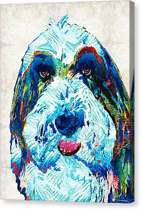 Bearded Collie Art - Dog Portrait By Sharon Cummings Canvas Print